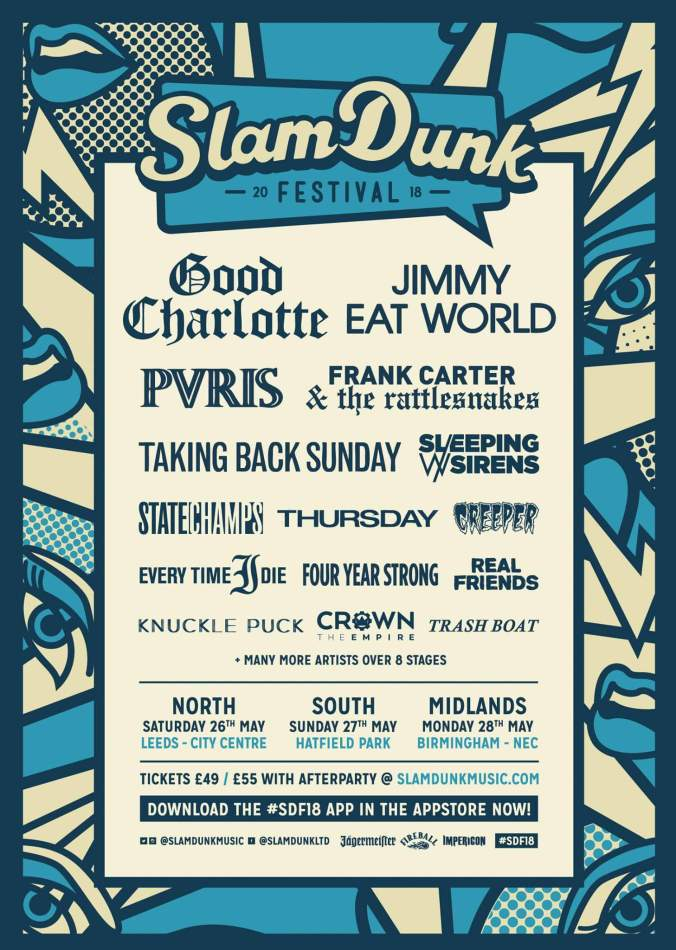 Slam Dunk Festival 2018 line up with Good Charlotte As headliners
